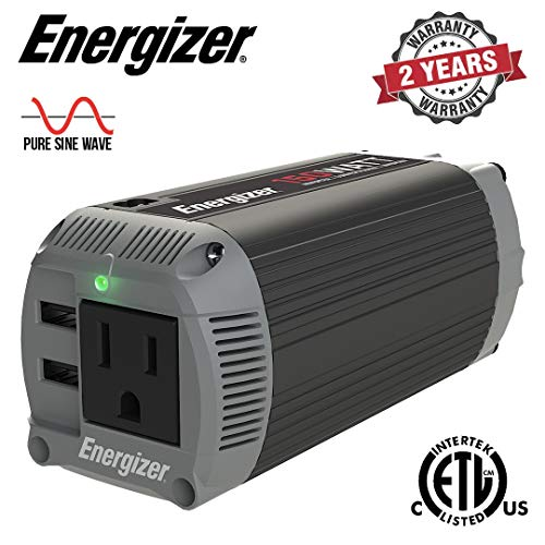 Energizer 150 Watts Pure Sine Wave Power Inverter 12V to 110V, Dual Mode Car Inverter, DC to AC Converter with 110 Volts AC Outlet and 2 USB Ports QC 3.0 - ETL Certified Under UL Std 458