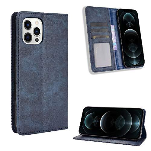 Snow Color iPhone 12 Pro Hülle, Premium Leder Tasche Flip Wallet Case [Standfunktion] [Kartenfächern] PU-Leder Schutzhülle Brieftasche Handyhülle für Apple iPhone 12 Pro 2020 - COBYU011189 Blau