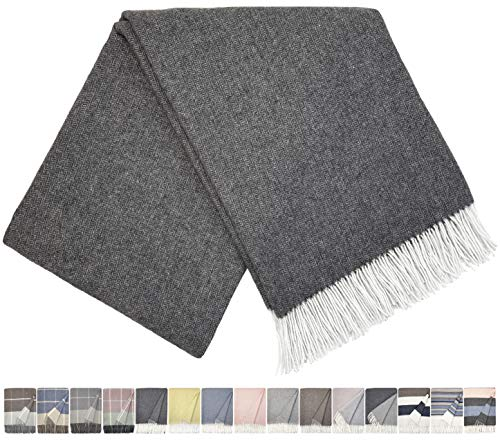 STTS International Kaschmir Decke Wolldecke Wohndecke Merinowolle - Kaschmir - Mix 140 x 200 cm sehr weiches Plaid Kuscheldecke Faro (Dunkelgrau)