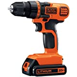 BLACK+DECKER LDX120C Black & Decker Max Lithium Drill/Driver, 1500 W, 20 V, Black/Orange, Compact