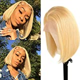 MSGEM Blonde #613 Bob Lace Front Wig Straight Human Hair Wigs for Women 8 inch Glueless Short Cut Wigs Pre plucked With Baby Hair