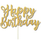 4 Pack Happy Birthday Cake Topper, 1st First Happy Birthday Cupcake Topper, Glitter Gold Decoration