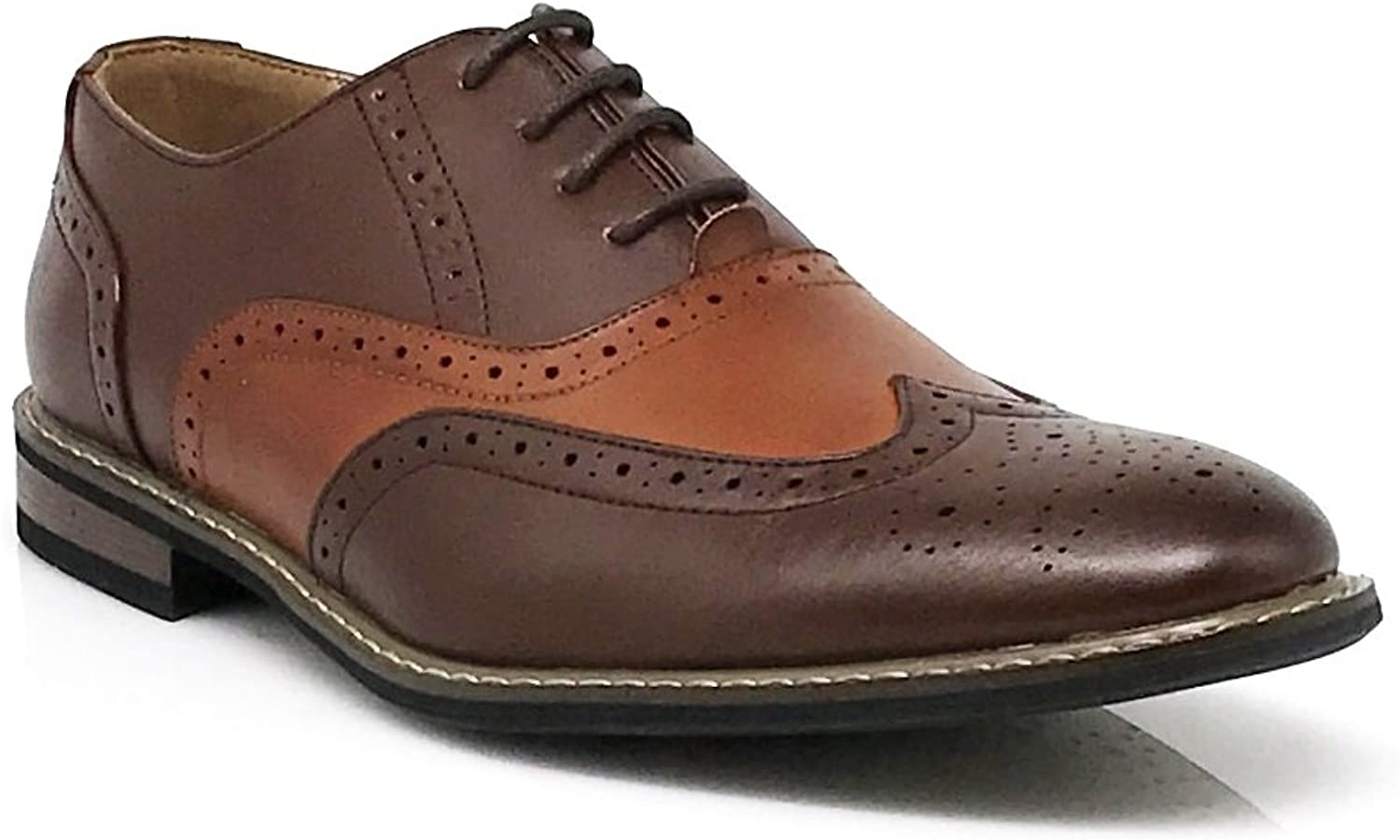 Enzo Romeo Wood8 Men's Spectator Two Tone Brown Tan Wingtips Oxfords Perforated Lace Up Dress shoes