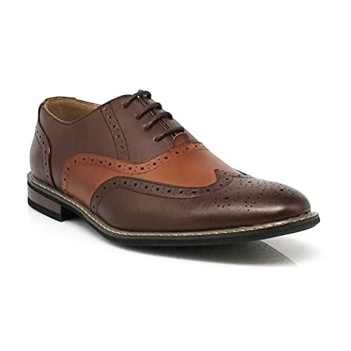 c5cb59d87493 Wood8 Men s Spectator Two Tone Brown Tan Wingtips Oxfords Perforated Lace  up Dress Shoes