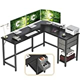 Cubiker L-Shaped Computer Desk, Home Office Corner Desk with Non-Woven Drawer, Sturdy Writing Table, Space-Saving, Easy to Assemble, Black