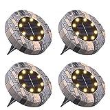 Luci Solari Giardino Tomshine 8 LED Luci led Solari da Esterno Faretti Solari a LED da Esterno IP65 Impermeabile(Bianco caldo)【4PC】