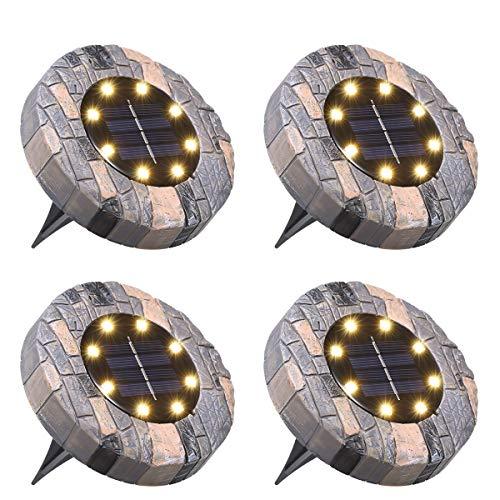 Lámpara Solar para Césped,Tomshine 4 Pack 8 LEDs Luces Solares para Jardín,IP65 Impermeable,Luz Enterrada,Focos Solares LED para Exterior,Jardín,Terraza, Césped,Pasarela(Blanco Cálido)