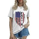 Mayntop Camiseta de manga corta para mujer con diseño de bandera de Estados Unidos, 4 de julio, A-blanco, 38
