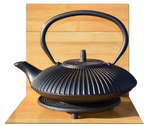 Gifts Of The Orient GOTO® - Salvamanteles Negro Y Arrabio Fundido Hierro Jardín Zen Negro Estilo Japonés De Tetera Cafetera 0.8 Litros