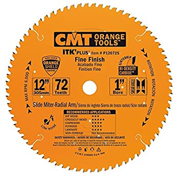 CMT P12072S ITK Plus Finish Sliding Compound Saw Blade 12 x 72 Teeth 10° ATB+Shear with 1-Inch bore