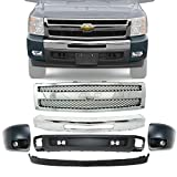 New Front Bumper Face Bar Chrome Steel + Grille +...