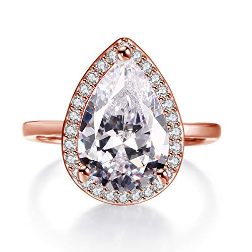 LAZLUVU 4.85ct Teardrop Rose Gold Plated Rings CZ Simulated Diamond Solitaire Halo Wedding Engagement Ring for Women Mothers Day Gift Rings Size 6
