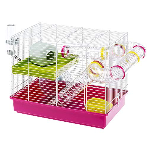 Ferplast Luara Small Hamster Cage | Fun & Interactive Cage Measures Measures 18.11L x 11.61W x 14.8H & Includes All Accessories (Hamster Cage Wheel)