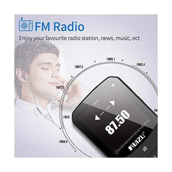 Clip Mp3 Player with Bluetooth 4.1 8GB Lossless Sound Music Palyer with FM Radio Voice Recorder Video Earphones for Running,Support up to 128GB 6