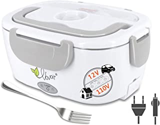 Electric Heating Lunch Box, 110V/12V 2 in 1 Portable Electric Food Warmer Lunch Heater for Car, Home, Office with Removable Stainless Steel Food Container -gray