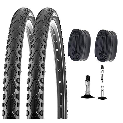 P4B | 2X 28 Zoll Fahrradreifen 47-622 (28 x 1.75) + 2X Schlauch mit Dunlopventil | Guter Grip auf Straßen Dank Seitenstollen für erhöhte Sicherheit