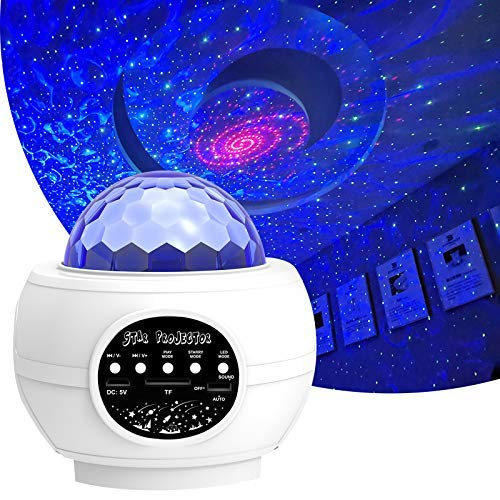 Star Sky Projector for Bedroom Ocean Wave Night Light with Bluetooth Speaker 1-14 Year Old Girl and Boy Disco Ball Lights-White