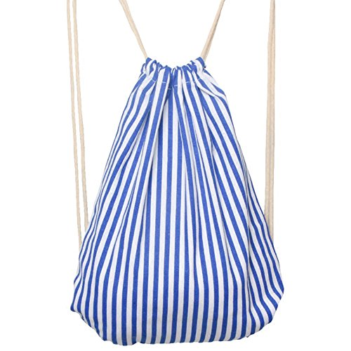 AIURBAG Blue Stripe Leinwand Kordelzug Shopping Reiserucksack Für Frauen & Männer-Yoga Sporttasche