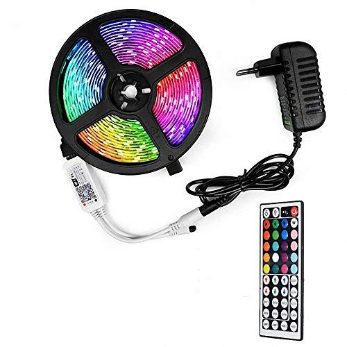 Tira de luces LED inteligentes que cambian de color 16.4 pies / 5M Kit de luces LED 5050 RGB flexibles con control remoto Fácil instalación para retroiluminación de TV Dormitorio Decoración multicolor