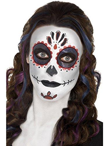 Smiffys-44226 Kit de Maquillaje para el día de los Muertos, con Pinturas para la Cara, Tatuaje, Multicolor, No es Applicable (Smiffy