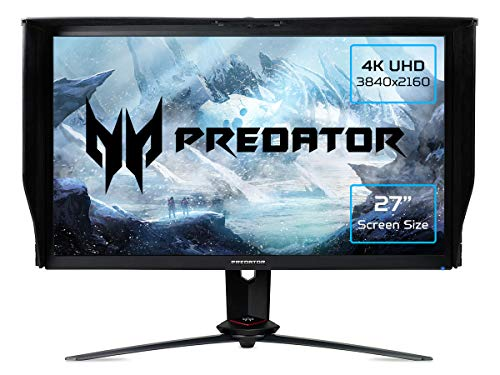 Acer Predator XB273KGPbmiipprzx 27 inch 4K UHD Gaming Monitor (IPS Panel, G-SYNC Compatible, 144Hz (OC), 1ms, HDR 400, Quantum Dot, Height Adjustable Stand, DP, HDMI, USB Hub, Black/Grey)
