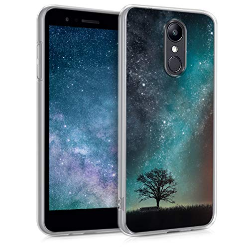 kwmobile Case Compatible with LG K8 (2018) / K9 - TPU Crystal Clear Back Protective Cover IMD Design - Cosmic Nature Blue/Grey/Black