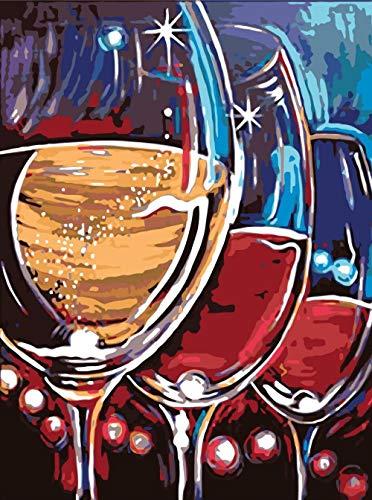 Pintar por números, tres copas de vino, kit de pintura acrílica Diy para niños y adultos principiantes - 40 * 50 cm sin marco