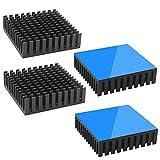 Tuloka ヒートシンク 導熱接着シート付き 熱暴走対策 冷却ラジエーターフィンCPU ICチップ 回路基板 LEDアンプに適用 アルミニウム 4個入り 40×40×11 黒