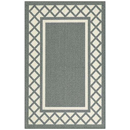 Maples Rugs Bella Kitchen Rugs Non Skid Accent Area Carpet [Made in USA], 2'6 x 3'10, Grey