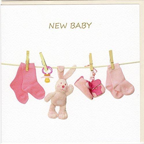 'fine art biglietto di auguri per nascite 'Baby Girl su un pregiato stucco Tintoretto cartone fa7055