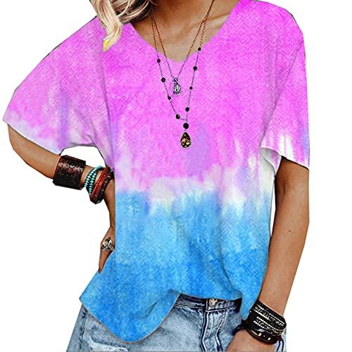 Camiseta Holgada Estampada con Degradado De Primavera Y Verano para Mujer