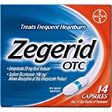 Zegerid OTC Heartburn Relief, 24 Hour Stomach Acid Reducer Proton Pump Inhibitor with Omeprazole and Sodium Bicarbonate, Capsules,14 Count (Pack of 2)