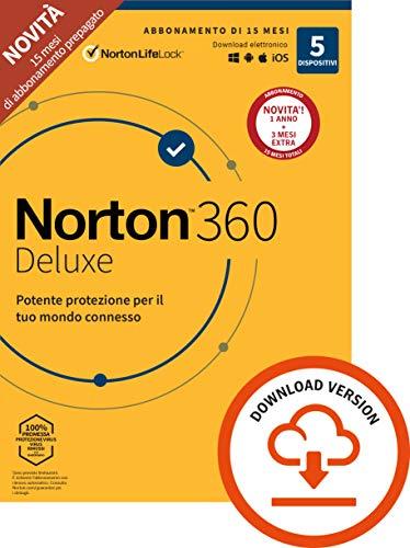 Norton 360 Deluxe 2021, Antivirus per 5 Dispositivi Licenza di 15 mesi, Secure VPN e Password Manager PC, Mac, tablet e smartphone, Codice d attivazione via email