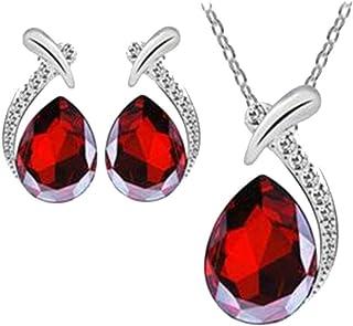 Flyme Fashion Necklace Earrings Tears of Angels Diamond Crystal Elegant Women Jewellery Set of Crystal Pendant Necklace+Earrings(Red)