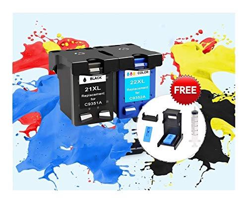 WXJ Reemplazo rellenados de Cartuchos de Tinta for HP 21XL for HP 22 21 for HP21 Deskjet F2180 F2280 F4180 F4100 F2100 F2200 (Color : 1bk 1color AC 1)