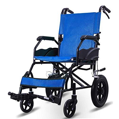 AOLI Wheelchair, Fold Light Portable Aluminum Alloy Super Light Travel Manual Travel Trolley,Blue