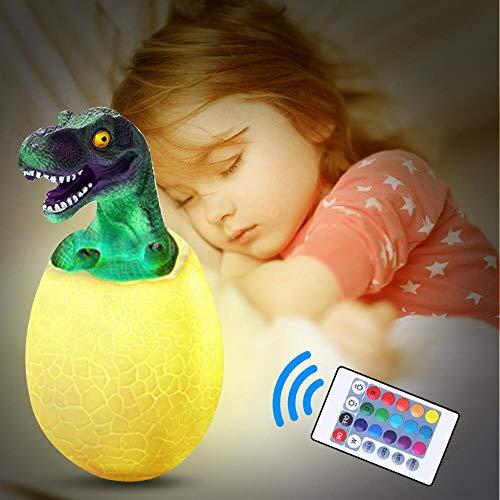 Phiraggit Luz Nocturna Infantil,3D Dinosaurio Luz de Noche para Niños,Lámpara Nocturna Juguete Dinosaurio con Soporte Sensor táctil Remoto Recargable 16 Colores, regalo para Navidad