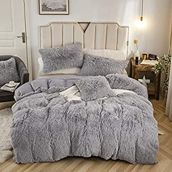 WUYI 3pc Fluffy Plush Shaggy Duvet Cover Set Faux Fur Fluffy Comforter Bed Sets Queen Size(1 Faux Fur Duvet Cover + 2 Faux Fur Pillowcases) Ultra Soft,Zipper Closure  Queen,Grey