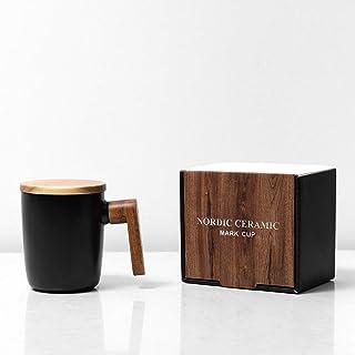 Clapoyis マグカップ コーヒーカップ 白 黒 2色 ふたつき セラミック 北欧 ブラック 陶器 C003-02