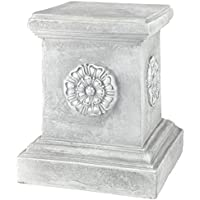Design Toscano 13 Inch English Rosette Sculptural Garden Plinth Base Riser (Antique Stone)