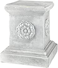 Design Toscano English Rosette Sculptural Garden Plinth Base Riser, Large 13 Inch, Polyresin, Antique Stone