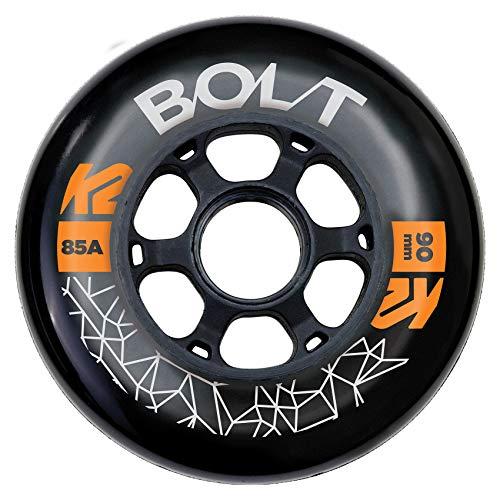 K2 Skates Unisex– Erwachsene Rollen Bolt 90 MM 85A 4-Wheel Pack — Black — 90mm — 30F3011