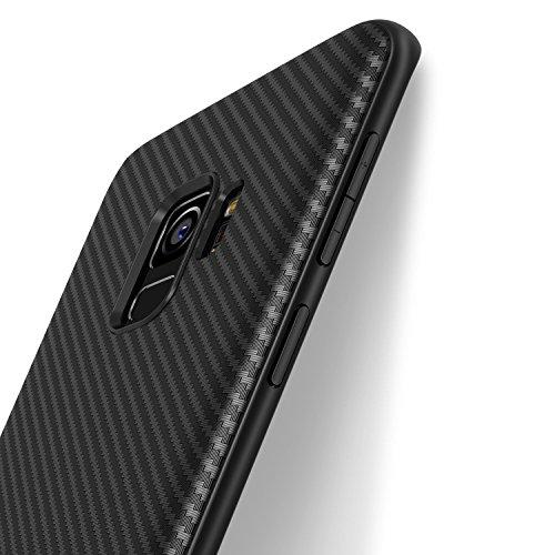 J Jecent Cover Samsung Galaxy S9 Custodia Samsung Galaxy S9 Look in Fibra di Carbonio Custodia di Protezione in Morbida Silicone TPU [Anticaduta Antiscivolo AntiGraffio Antiurto] Case - Nero