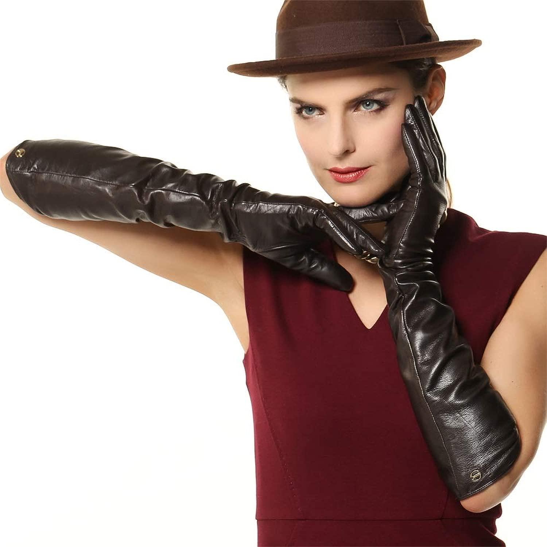 女性の長いビロードのファッション冬暖かい革の手袋手袋 スポーツ用手袋 (Color : 黒, Size : M)