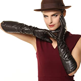 SHENTIANWEI Gloves Ladies Long Velvet Fashion Winter Warm Leather Gloves (Color : Black, Size : L)