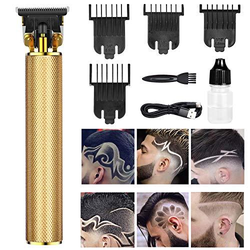 SerDa-Run Elektrisch haarschneidemaschine, Profi T-Klingen langhaarschneider Rasierer Herren Bartschneider Trimmer Mit USB Wiederaufladbarer Apparat-Wasserdicht und Kabelloser,Gold