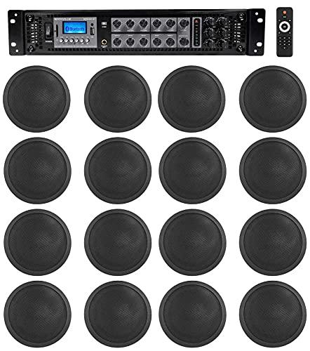 Rockville 6-Zone Amp+16 Black 6' Ceiling Speakers for Restaurant/Bar/Cafe/Office