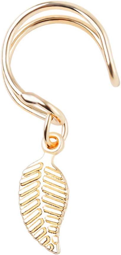 fublousRR5 Women's Clip-Ons Earrings, Hollow-Out U Shape Leaf Charm Cuff Earrings for Women Girls Clip-Ons Earrings No Piercing Jewelry Gifts Golden
