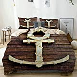 Juego de funda nórdica beige, ancla náutica de madera vieja en la cubierta, puerto, yate, navegación artesanal, símbolo Drogue, juego de cama decorativo de 3 piezas con 2 fundas de almohada, fácil cui