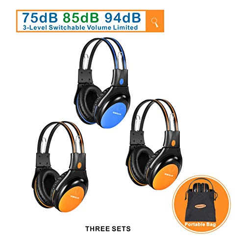 SIMOLIO 3 Pack of Car Wireless Headphones for Kids Safe Listening with Switchable Volume Limited, Infrared Wireless Headphones for Kids Travelling, Universal 2 Channel Automotive IR Headphones